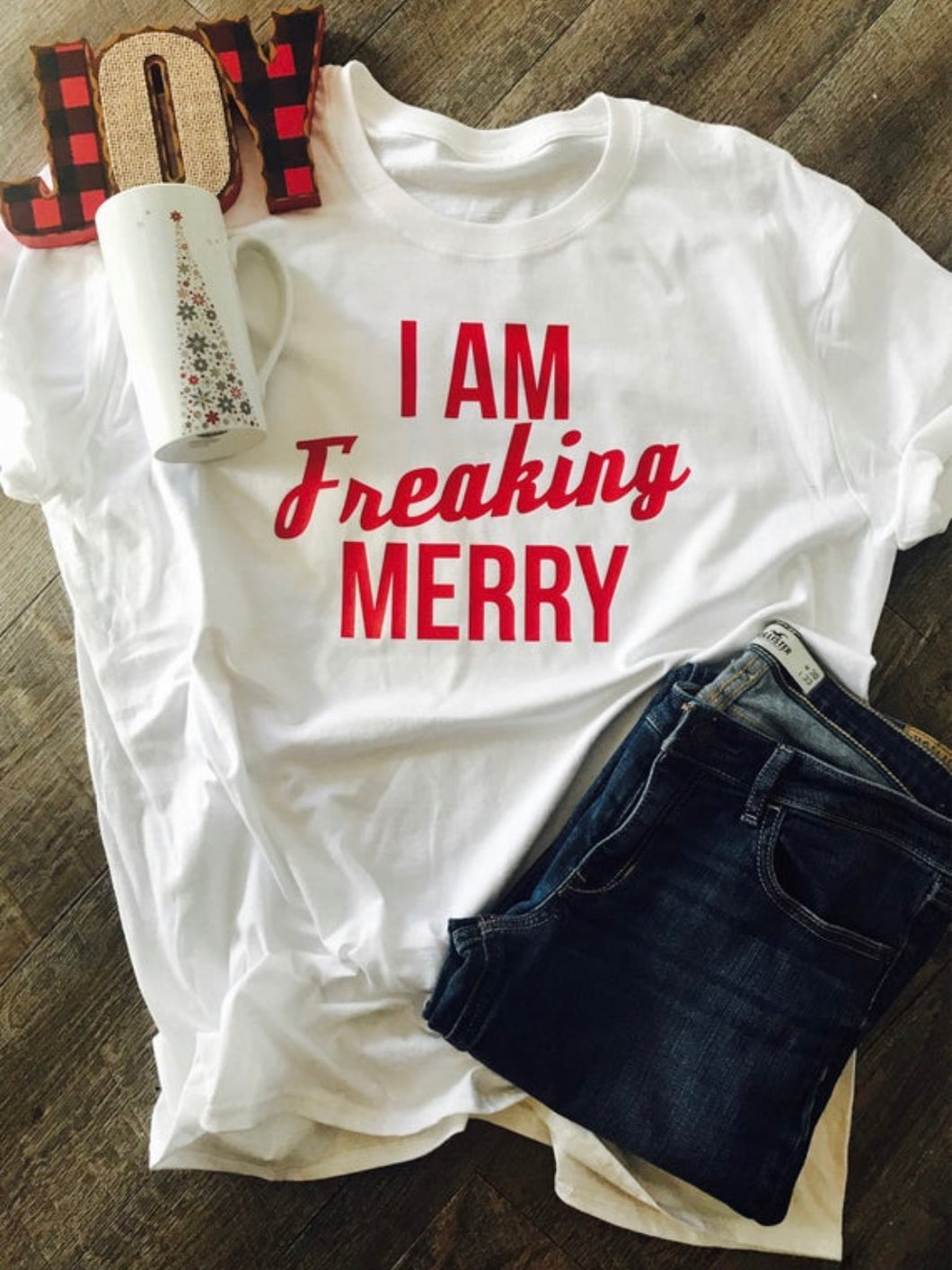 I am freaking merry funny christmas shirt. Gift. Bella canvas. Christmas gift. Holiday shirt. - Mavictoria Designs Hot Press Express