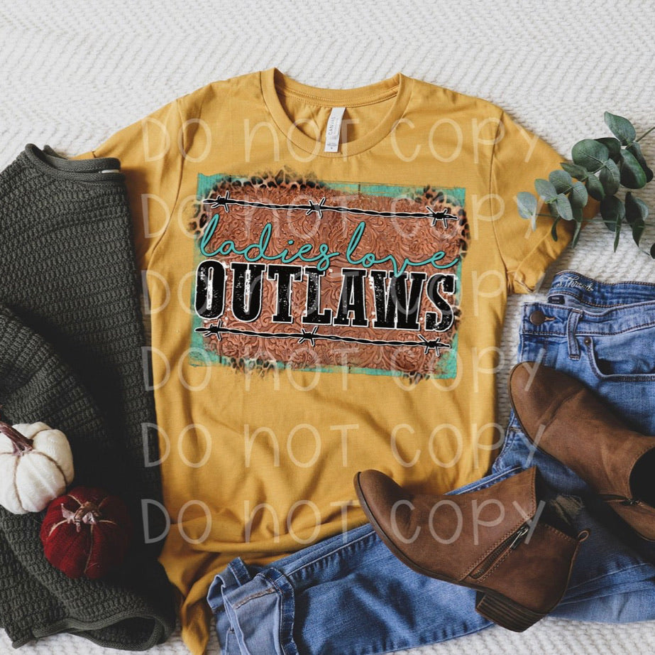 Ladies love outlaws graphic tee long sleeve crew or hoodie - Mavictoria Designs Hot Press Express