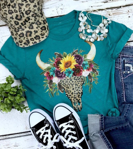 Floral bull skull western graphic tee long sleeve crew or hoodie - Mavictoria Designs Hot Press Express