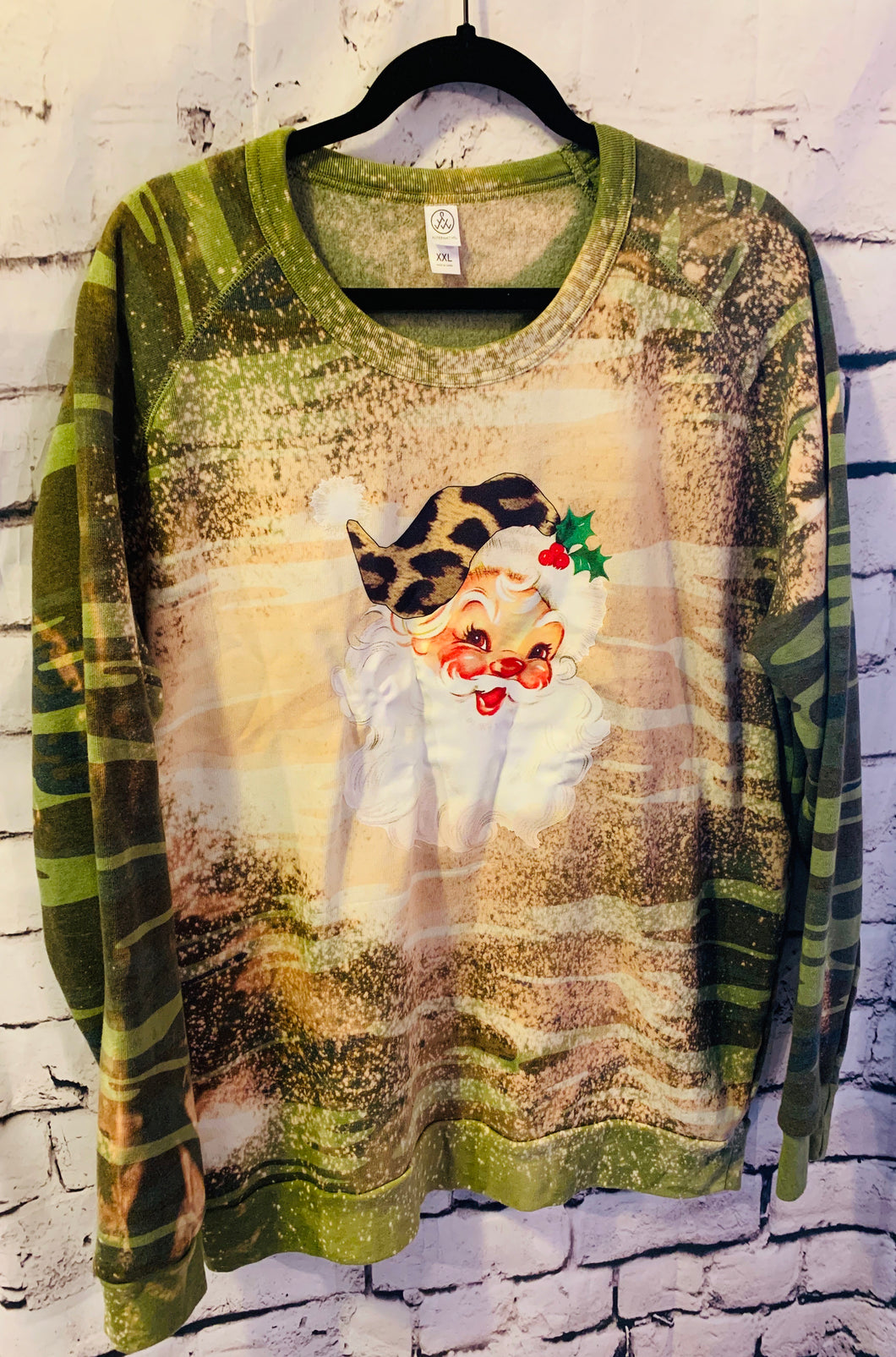Leopard Santa on camo crew neck sweatshirt by alternative apparel // bleached for a distressed look - Mavictoria Designs Hot Press Express