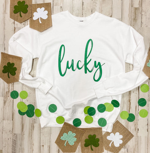 Lucky white St. Patrick's day tank tee crew or hoodie - Mavictoria Designs Hot Press Express