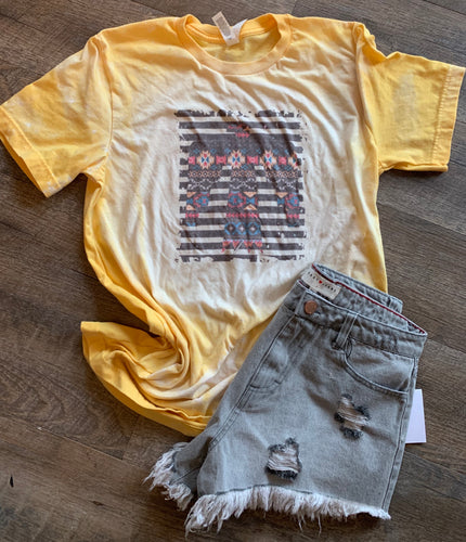 Stripe Aztec thunderbird yellow bleached graphic tee long sleeve crew or hoodie - Mavictoria Designs Hot Press Express