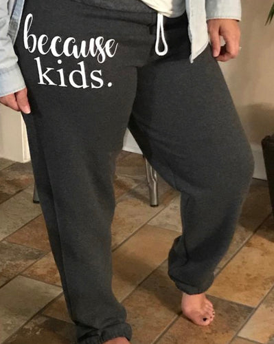 Because kids customized unisex fit sweatpants. Funny graphic sweats great gift! - Mavictoria Designs Hot Press Express