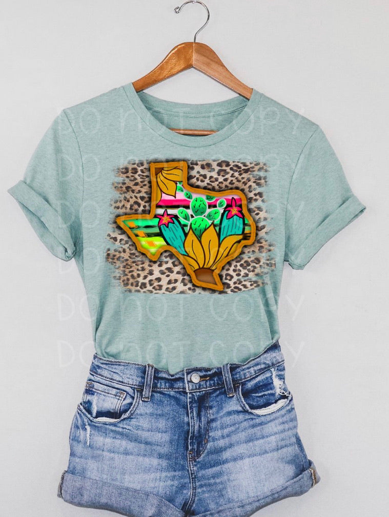 Leopard Texas sunflower cactus graphic tee long sleeve crew or hoodie - Mavictoria Designs Hot Press Express