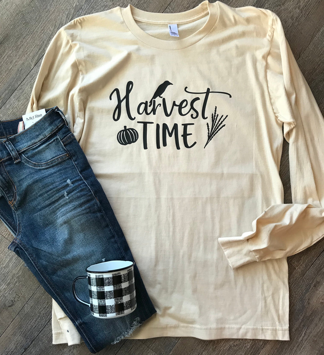 Harvest time perfect for fall cream color graphic tshirt or long sleeve - Mavictoria Designs Hot Press Express