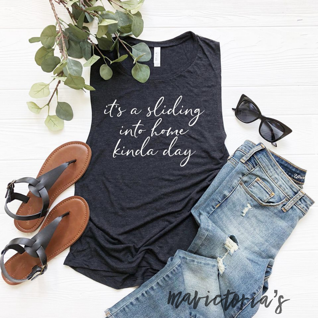 It's a sliding into home kind of day. Muscle tank. Softball baseball. - Mavictoria Designs Hot Press Express