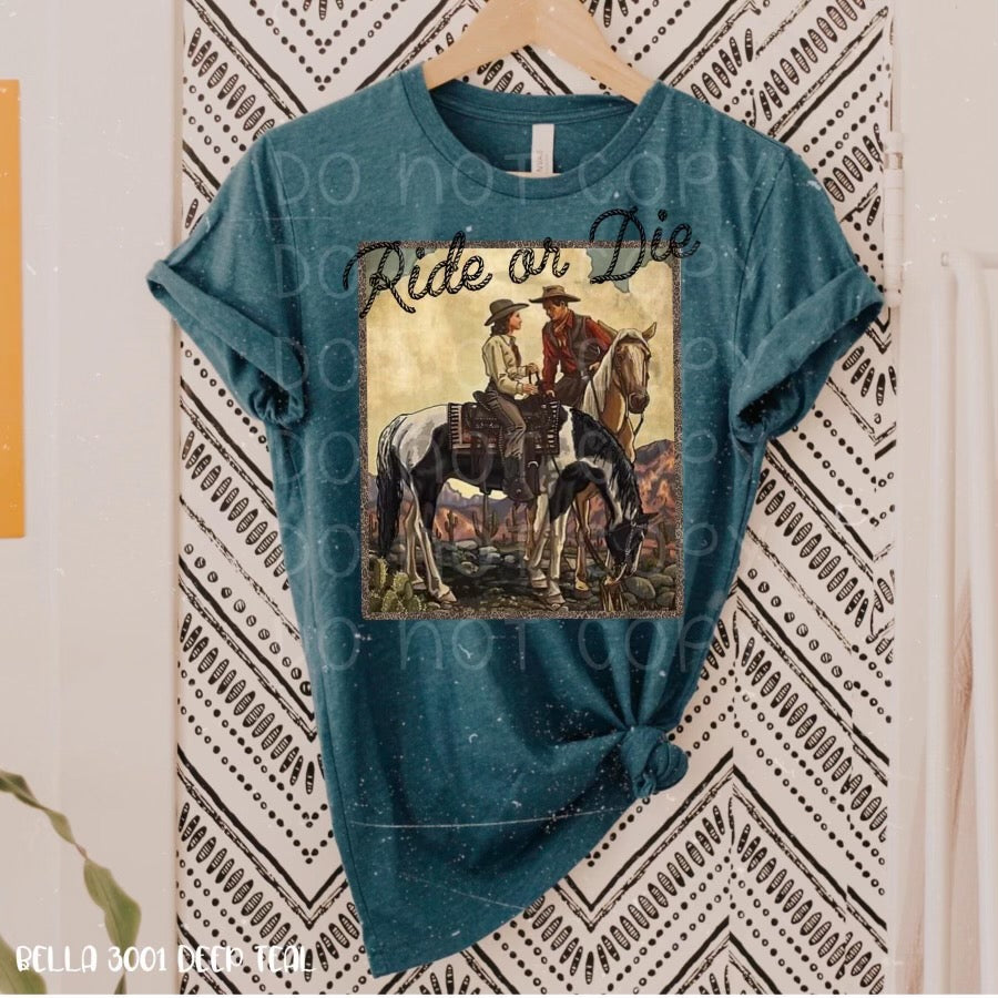 Ride or die. Cowboys cowgirls horses. graphic tee long sleeve crew or hoodie - Mavictoria Designs Hot Press Express
