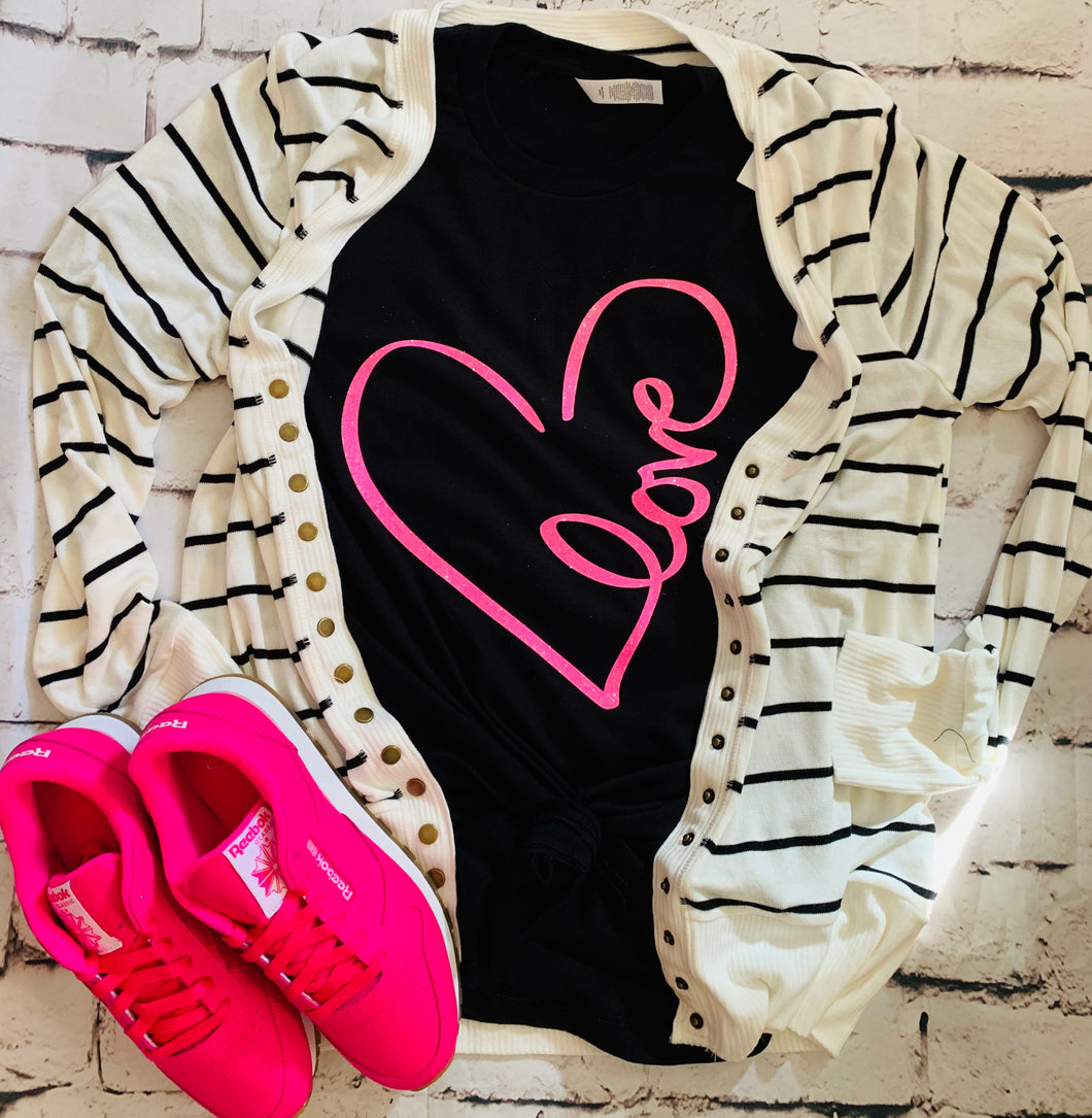 Heart love in glitter neon pink valentines tee crew or hoodie - Mavictoria Designs Hot Press Express