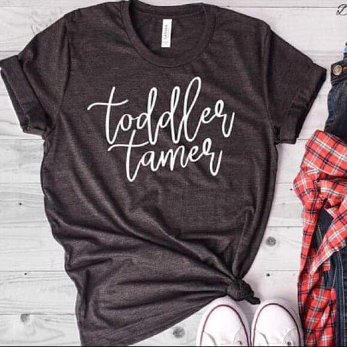 Toddler tamer funny charcoal mom life unisex fit tee - Mavictoria Designs Hot Press Express