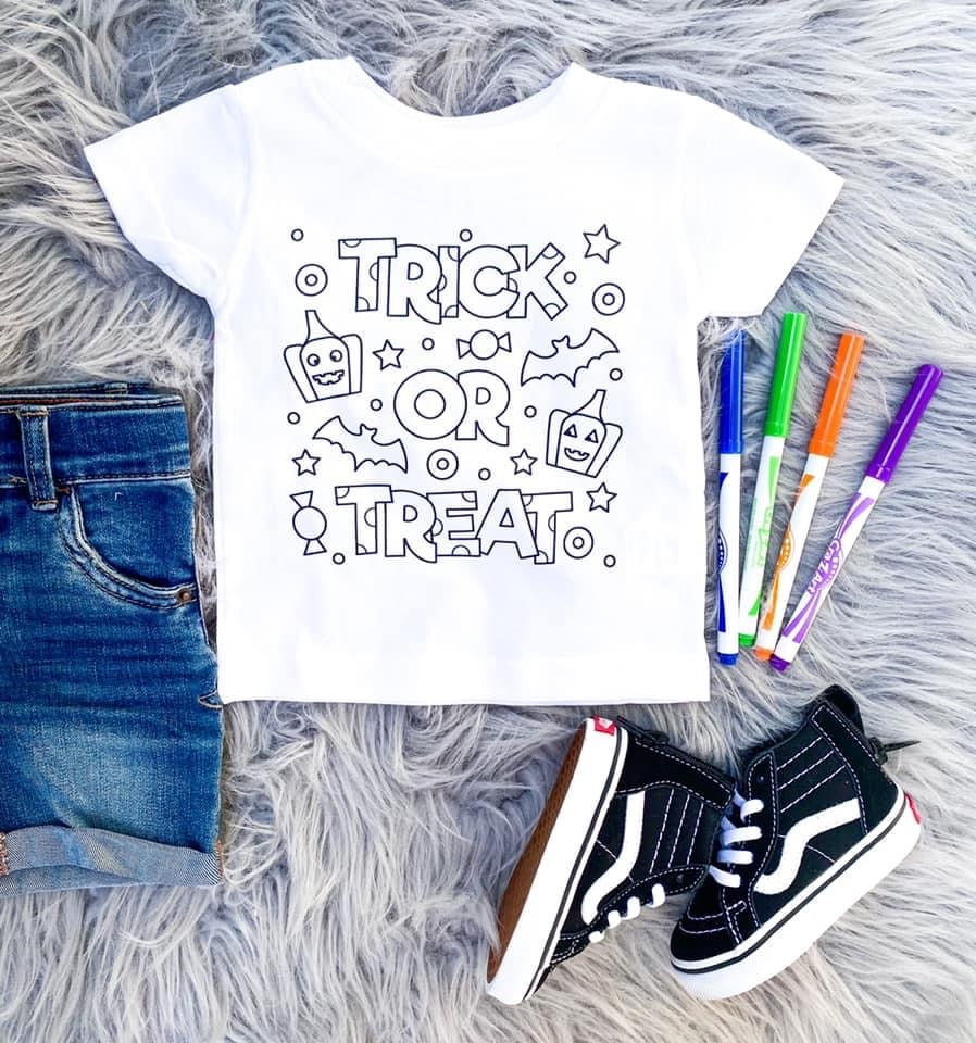 Trick or Treat Color Me Tee. 4 Markers Included. - Mavictoria Designs Hot Press Express
