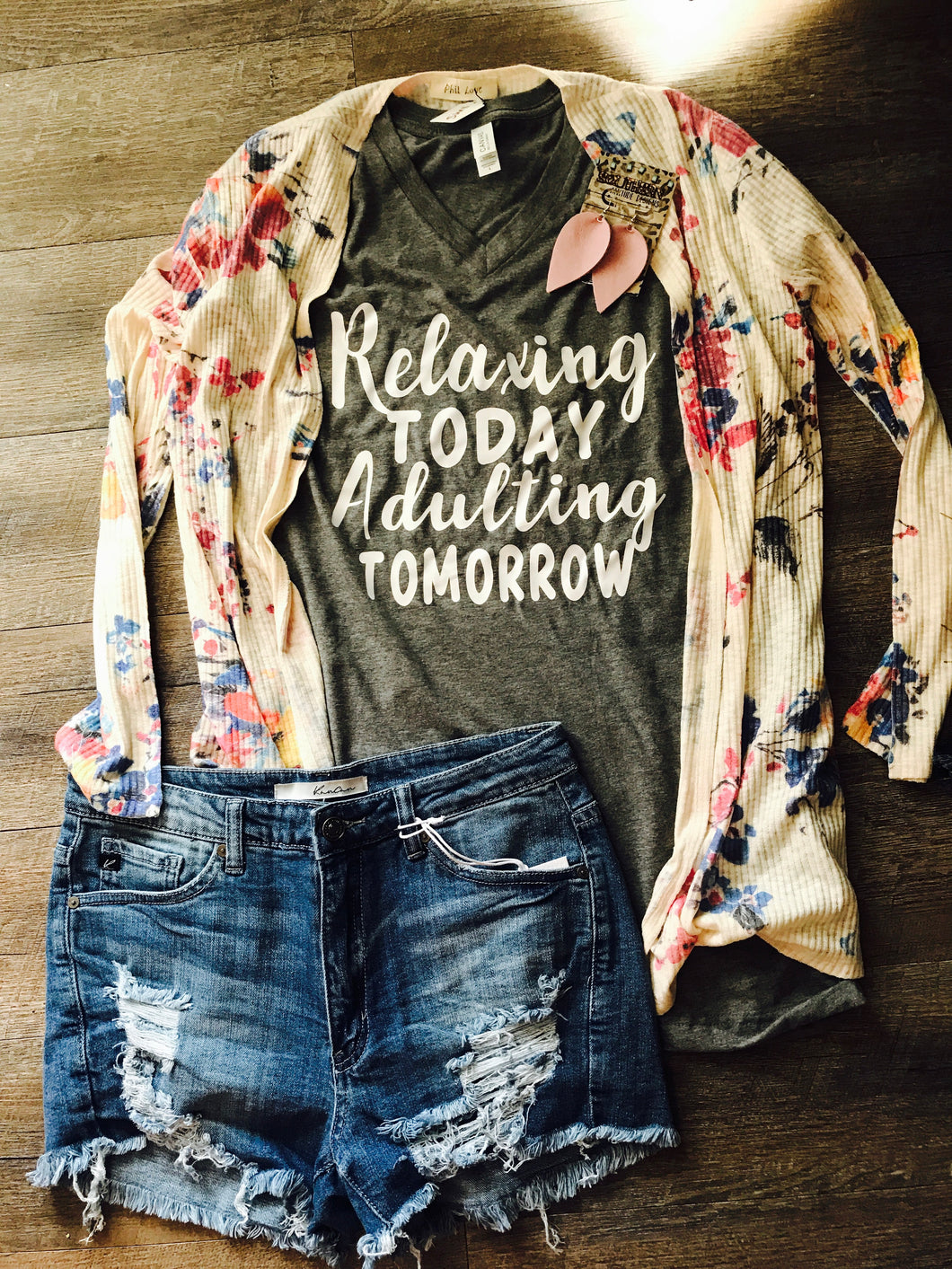 Relaxing today adulting tomorrow custom gray vneck tshirt. Bella canvas funny tee. Gift - Mavictoria Designs Hot Press Express