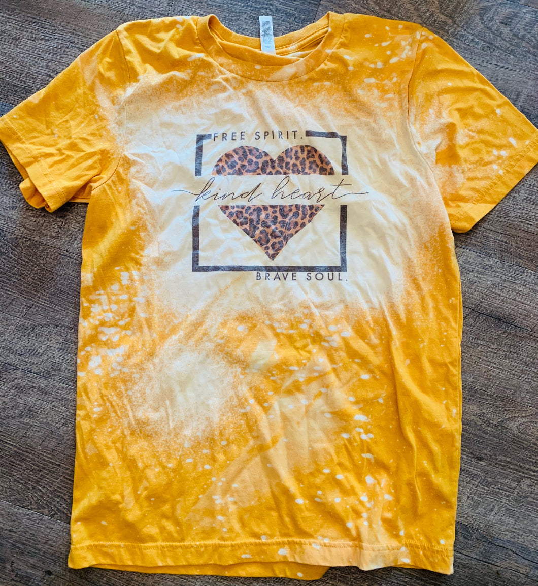 Free Spirit. Kind Heart. Brave Soul. Yellow Bleached Tee. - Mavictoria Designs Hot Press Express