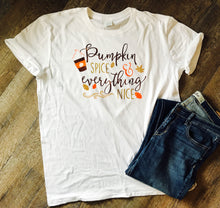 Pumpkin spice and everything nice custom white tshirt. Fall design shirt - Mavictoria Designs Hot Press Express