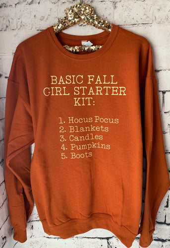Basic fall girl starter kit: 1. Hocus pocus 2. Blankets 3. Candles 4. Pumpkins 5. Boots funny graphic sweatshirt or tee - Mavictoria Designs Hot Press Express