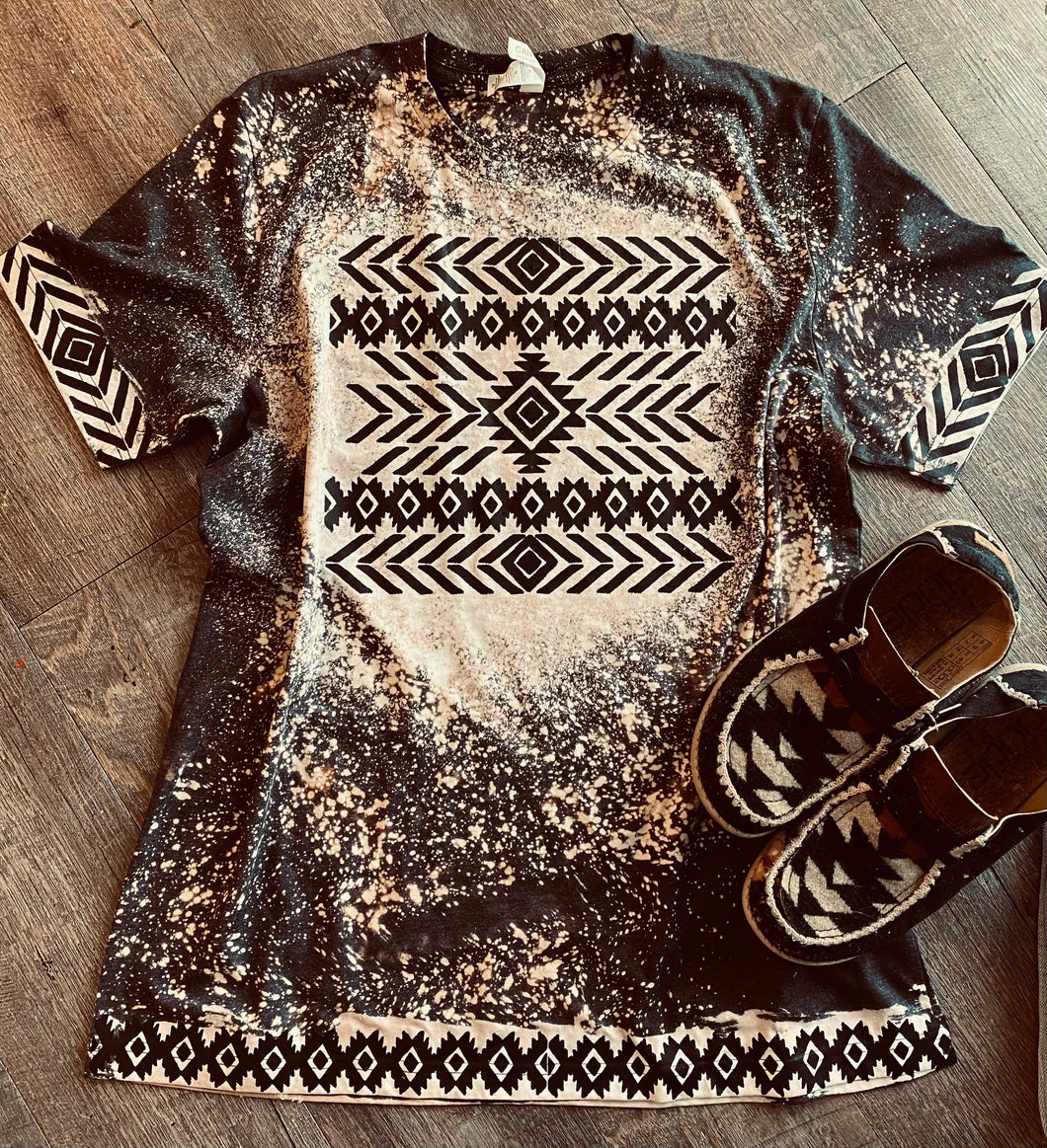 Aztec tribal tee tribal sleeves bleached graphic tee - Mavictoria Designs Hot Press Express