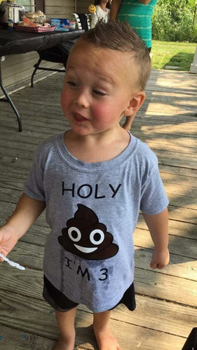 Holy poop emoji I'm 3 or any other number holy shit birthday shirt - Mavictoria Designs Hot Press Express