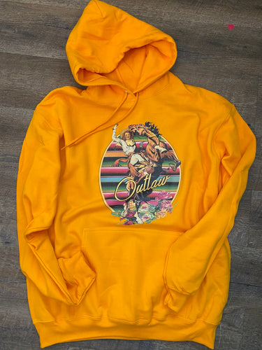 Oval serape outlaw bronco // yellow graphic hoodie or tee - Mavictoria Designs Hot Press Express