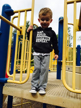Load image into Gallery viewer, Nap. Build. Destroy. Repeat. Toddler life hoodie. Super soft material. Gray and black. - Mavictoria Designs Hot Press Express
