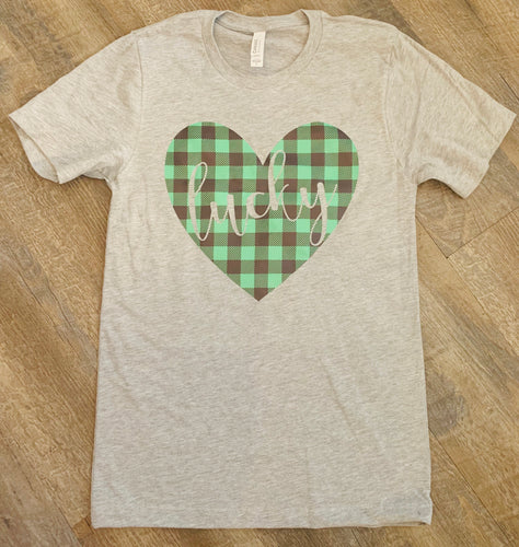 Green buffalo plaid heart lucky // St. Patrick's Day funny graphic Tank tee crew or hoodie - Mavictoria Designs Hot Press Express