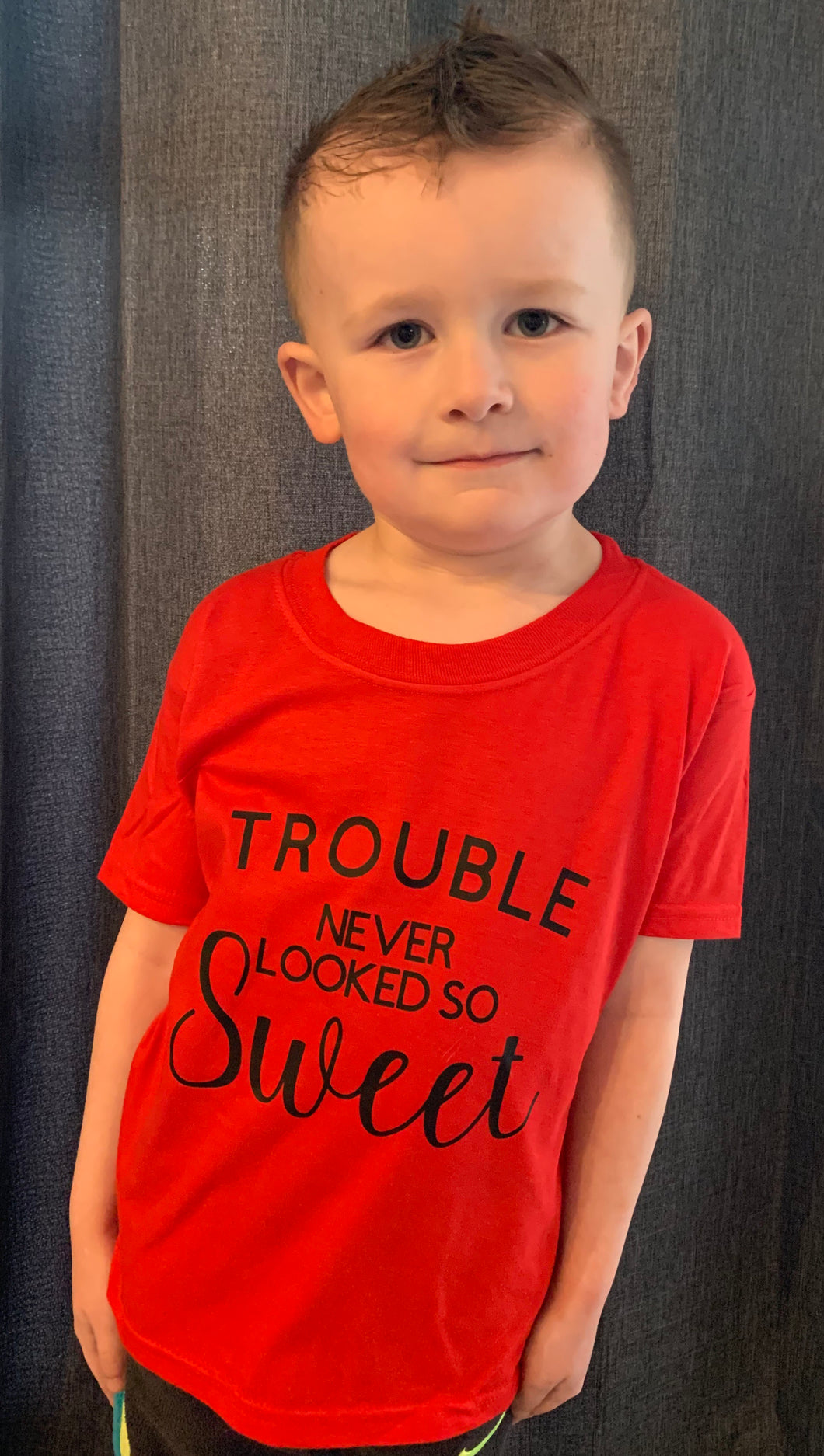 Trouble never looked so sweet. Funny kids or adult graphic tee. - Mavictoria Designs Hot Press Express