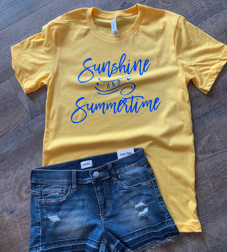 Sunshine and summertime graphic tee. Yellow with neon blue print. Perfect summer outfit!! - Mavictoria Designs Hot Press Express