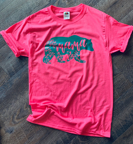 Mama bear floral silhouette graphic tee. Neon pink and teal. - Mavictoria Designs Hot Press Express