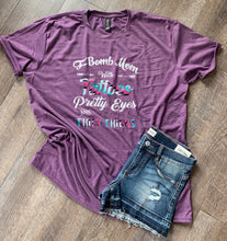 F-bomb mom with tattoos pretty eyes and thick thighs. Funny womens graphic tee. Mom life. - Mavictoria Designs Hot Press Express