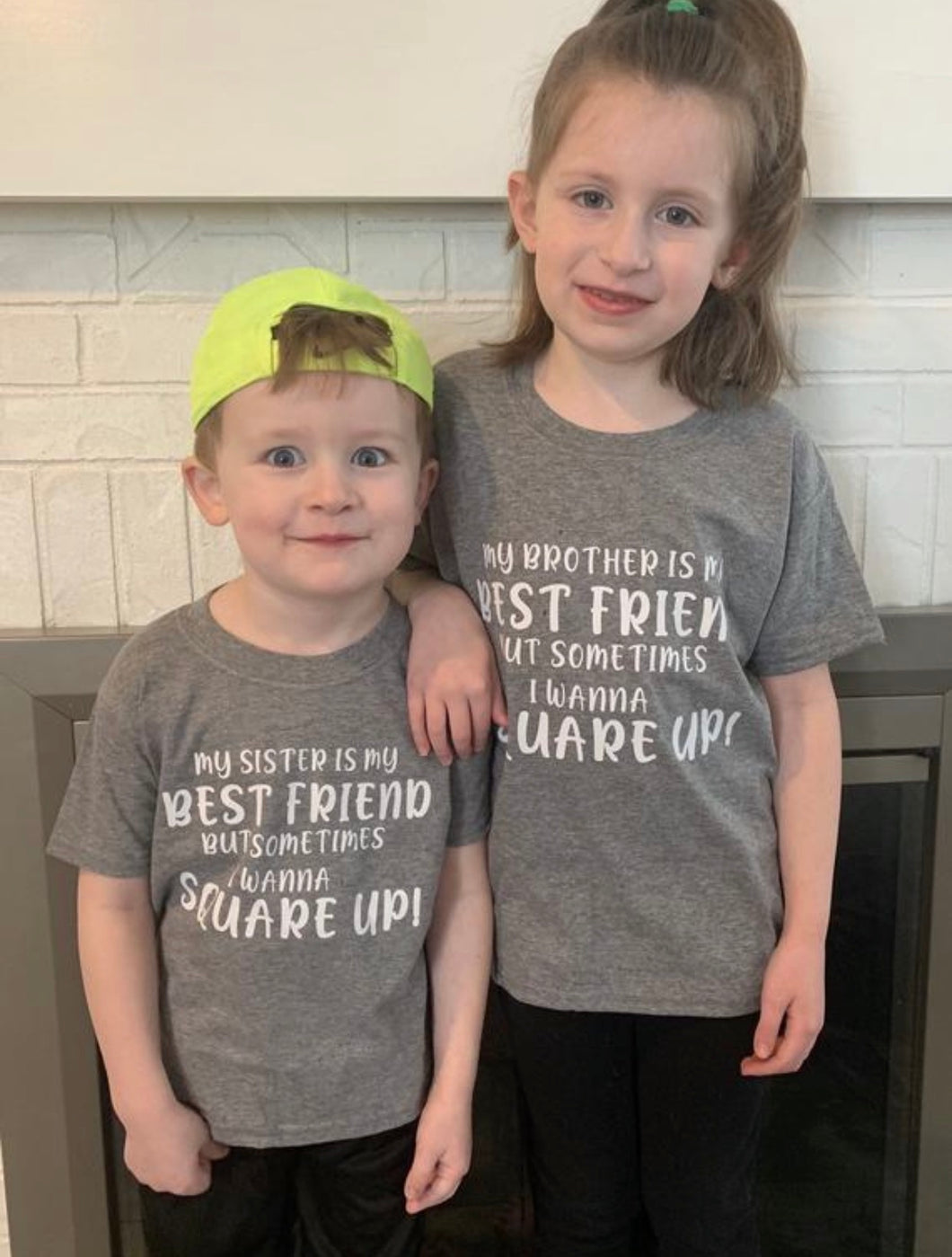 My brother / sister is my best friend but sometimes i wanna square up funny kids graphic tee tshirt shirt. Sibling shirts. - Mavictoria Designs Hot Press Express