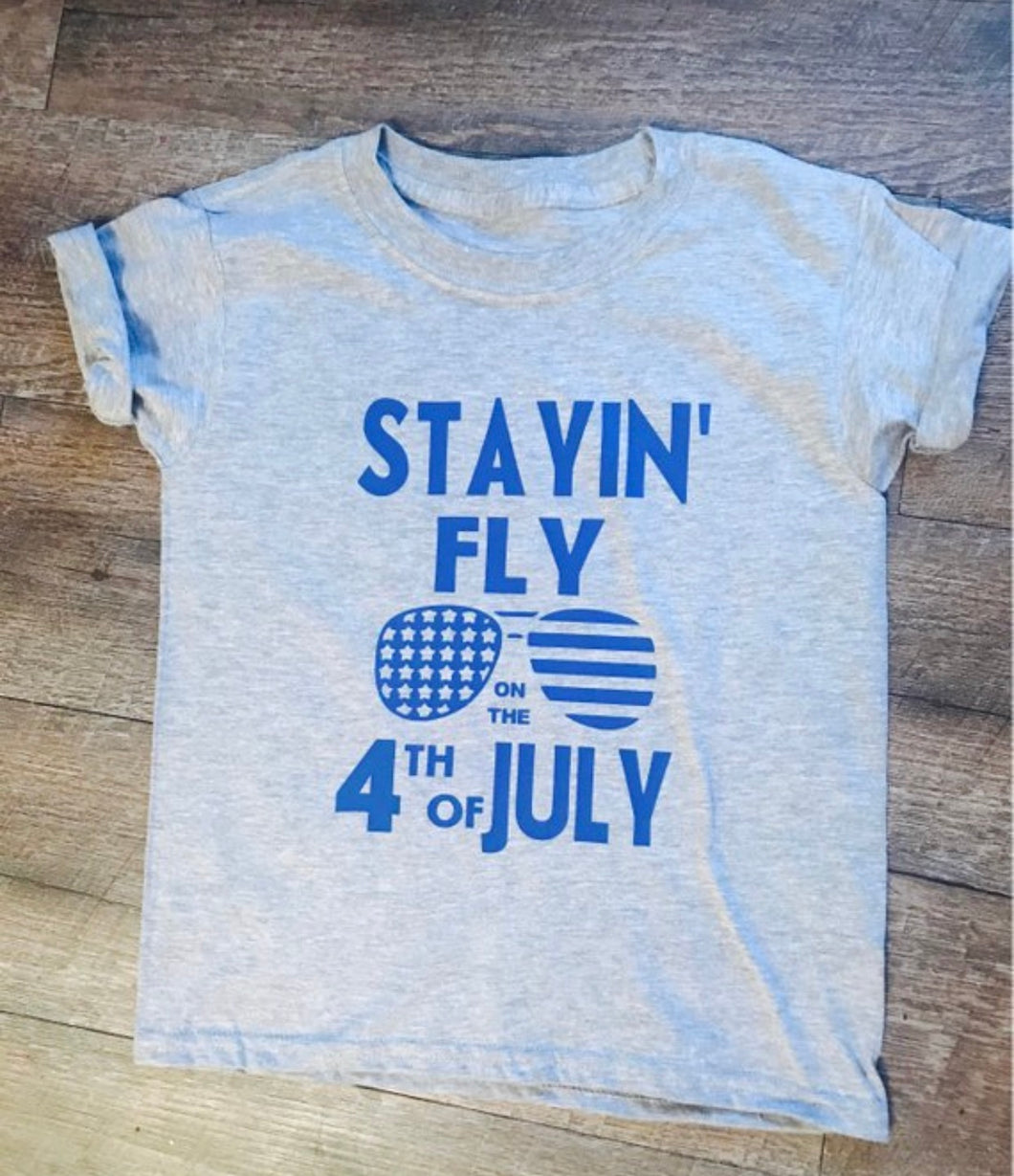 Stayin Fly on the 4th of July custom graphic tee. Graphic tshirt. Parriotic. Independence Day. Holiday. - Mavictoria Designs Hot Press Express