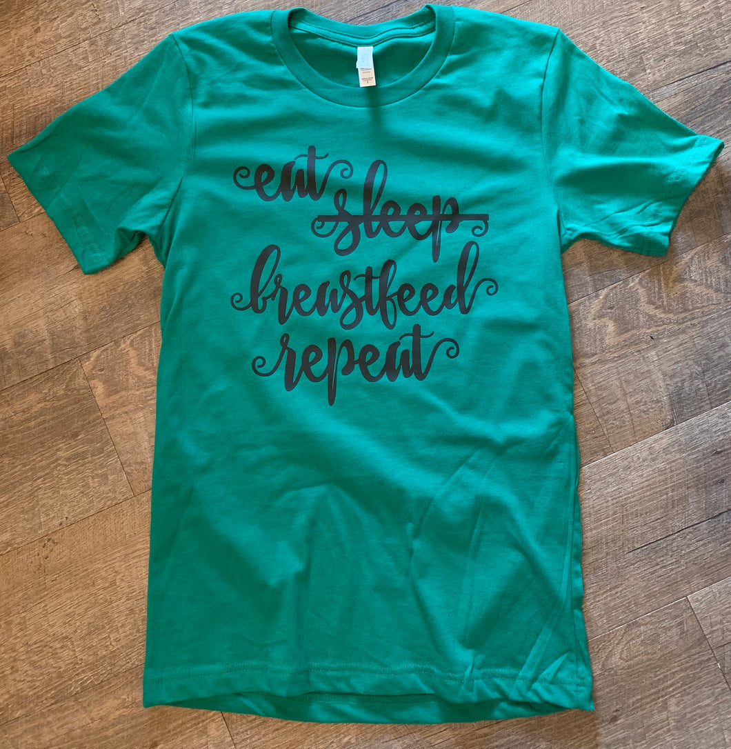 Eat sleep breastfeed repeat funny graphic tee - Mavictoria Designs Hot Press Express
