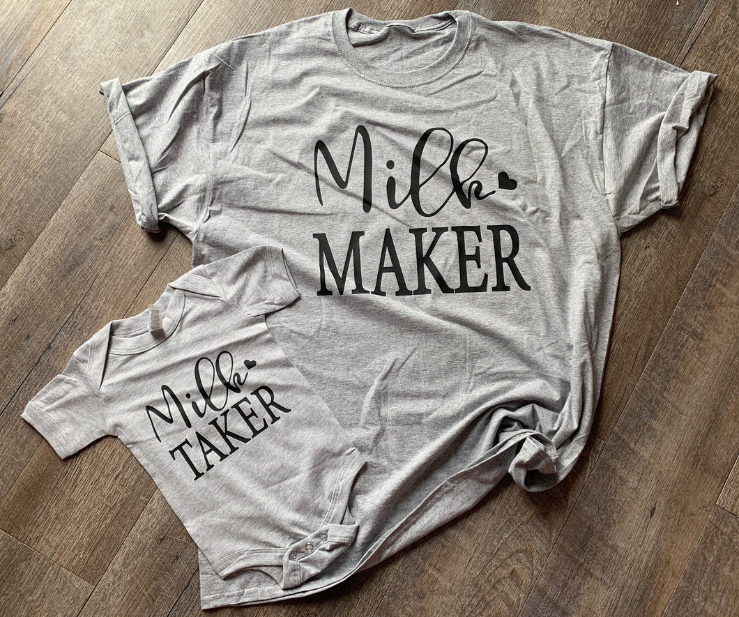 Milk maker and milk taker mommy and me graphic tees. Breastfeeding. - Mavictoria Designs Hot Press Express