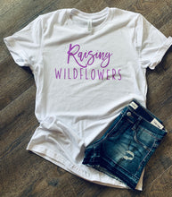 Raising wildflowers. Girl mom tee with neon purple glitter vinyl. - Mavictoria Designs Hot Press Express
