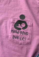 Mind your own tits. Eggplant pocket tee. Breastfeeding. - Mavictoria Designs Hot Press Express