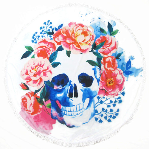 Blue and Pink Floral Skull Round Beach Towel - San Andres Mixquic Blanket