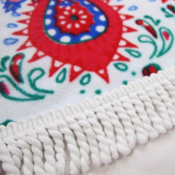 Red Feather Round Beach Towel - La Condesa Blanket - 100% Cotton