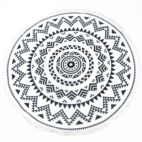 Black and White Round Beach Towel - Tulum Blanket