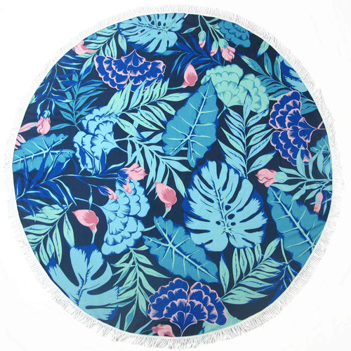 Blue and Green Round Beach Towel - Dos Estrellas Blanket