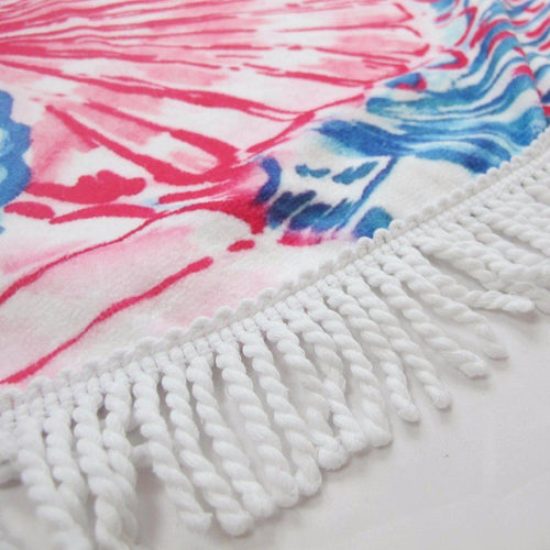Pink and Blue Round Beach Towel - Cozumel Sea Shells Blanket