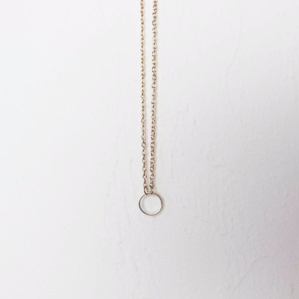 Simple Karma Circle Pendant Layering Necklace