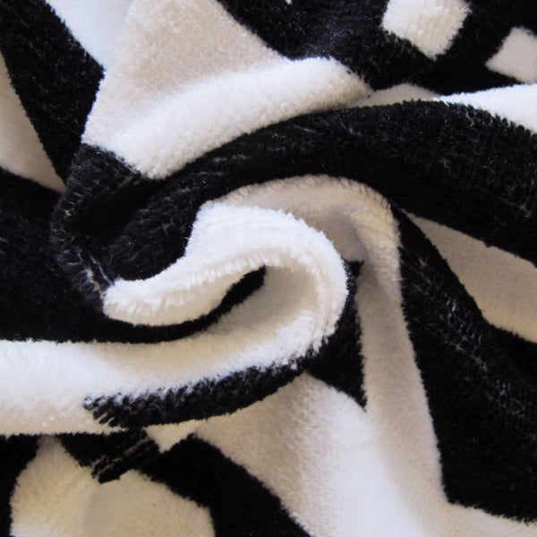 Black and White Round Beach Towel - Yucatán Blanket - 100% Cotton