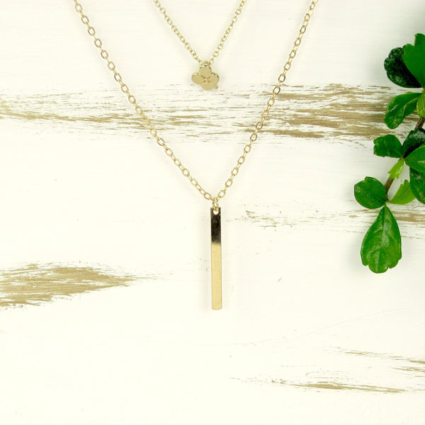 Lucky Clover Pendant Layering Necklace