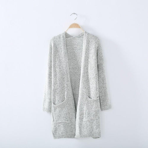 Long Sleeve Knitted Cardigan Sweater Cover-Up