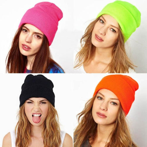 Unisex Cotton Solid Warm Soft Knitted Winter Hat