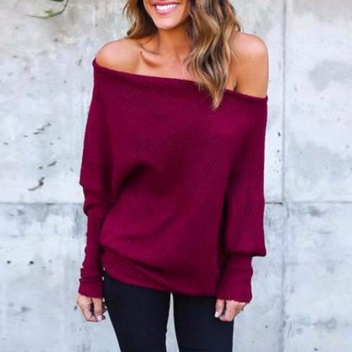 Elegant Off Shoulder Knitted Women's Cocktail Sweater