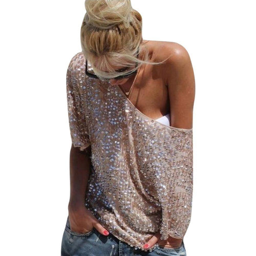 Sexy Sequin Blush Pink Top T-Shirt