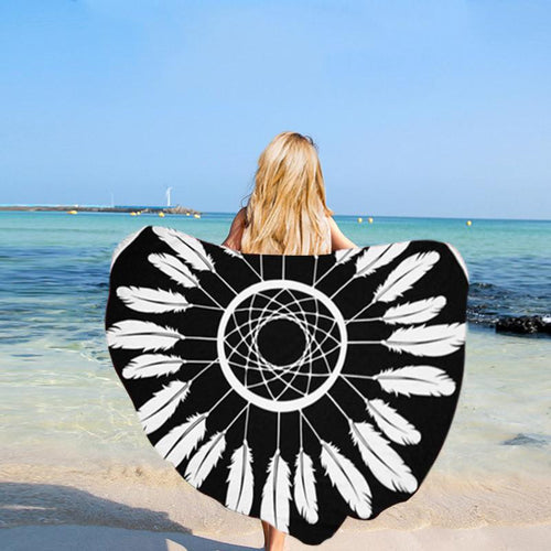Black and White Feather Round Beach Towel - Plumería Blanket