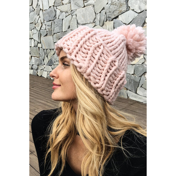 Womens Wool Pom Pom Hat
