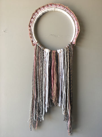 Pink + Grey Hoop Hanging