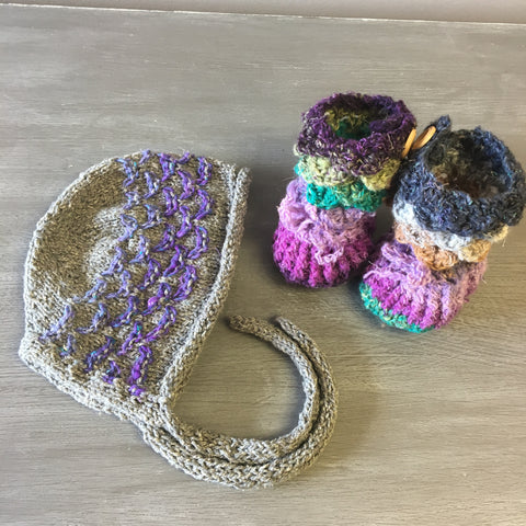 Crocodile Booties + Bonnet Set