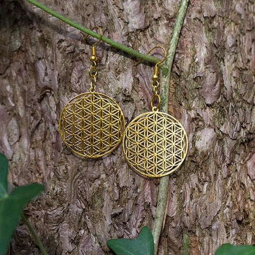 Flower of Life Earrings - Gold
